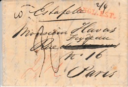 LAC De Londres 1831 Pour Paris Entrée En Angleterre Par Calais Estafette Manuscrit En Rouge Angl. Est 30 De Port - Storia Postale