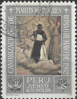 PERU 1965 Air. Canonisation Of St Martin De Porras (1962). Paintings - 4s.30 - St Martin And The Angels FU - Peru