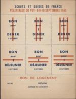 Scout Scoutisme Guide De France Pèlerinage Puy Septembre 1945 Bon Pour Dîner Déjeuner Logement - Bons & Nécessité