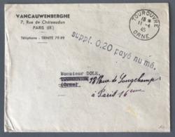 """France 1945, Lettre De Tourouvre Pour Paris - Griffe """"Suppl. 0,20 Payé Numé."""" - (B2466) - Guerre De 1939-45"""
