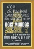 Festival Internacional Da Canção 2 Mundos No Teatro Municipal De S. Luiz, Lisboa. Torre De Belém. Postal. Theater Music. - Cine & Teatro