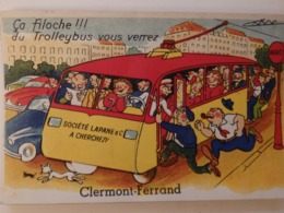 """Carte à Système """"ça Filoche!!! Du Trolleybus Vous Verrez"""". - Clermont Ferrand"""