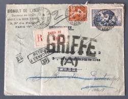France N°235 Et 297 Sur Lettre Recommandée 1934. GRIFFE + Divers - (B2468) - Marcophilie (Lettres)