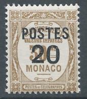 MONACO 1937 - YT N°143 - 20 C. Sur 30 C. Bistre - Timbres Taxe De 1924-32 Surchargés - Neuf** - TTB Etat - Ongebruikt