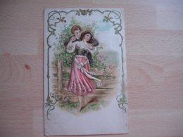 Carte Gaufree Rehaussee Ajouti Dore Couple - Autres