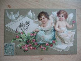 Carte Gaufree Fillette Cherubin Ange Amitie Courrier Colombe - Autres