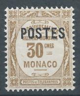 MONACO 1937 - YT N°145 - 30 C. Bistre - Timbres Taxe De 1924-32 Surchargés - Neuf** - TTB Etat - Nuovi