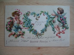 Carte Gaufree  Cherubin Ange Coeur De Fleurs - Autres