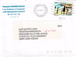 TP 3352 Seul Sur Enveloppe Du Point Courrier De Mondeville - Storia Postale