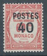 MONACO 1937 - YT N°146 - 40 C. Sur 60 C. Rouge - Timbres Taxe De 1924-32 Surchargés - Neuf** - TTB Etat - Nuovi
