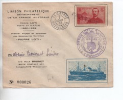 1953 - ENVELOPPE Du PREMIER VOYAGE DU PAQUEBOT PIERRE LOTTI Avec TàD De TAMATAVE (MADAGASCAR) - Franse Zuidelijke En Antarctische Gebieden (TAAF)
