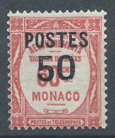 MONACO 1937 - YT N°147 - 50 C. Sur 60 C. Rouge - Timbres Taxe De 1924-32 Surchargés - Neuf** - TTB Etat - Nuovi