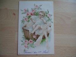 Carte Bebe Bebes Panier De Rose - Bébés