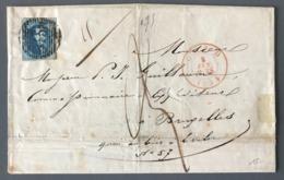 Belgique, Medaillon Sur Lettre De Gand Pour Bruxelles 1854 - (B2476) - 1849-1865 Medallions (Other)