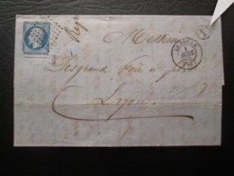 Lettre  Avec Un N° 14 Bleu Type I TTB Cachet De Facteur I Date Du 01/04/1860 De Le Vigan Pour Lyon - Marcophilie (Lettres)