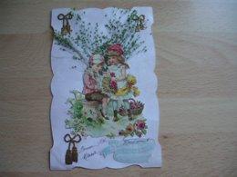 Carte Decoupi Chromo Couple Enfant Herbe Factice - Autres