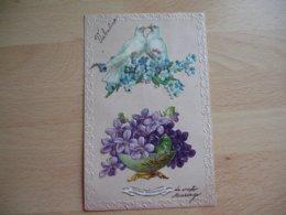Carte Decoupi Chromo Couple Colombe Violette - Autres