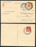 1935 Denmark Kugleposten Copenhagen / Naestved + Return. 2 X Stationery Postcards - 1913-47 (Christian X)