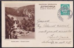 Yugoslavia, Kingdom, King Peter, 1 Din., Illustrated Postcard, Plitvice, Mailed 1939 - 1931-1941 Königreich Jugoslawien