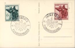 Allemagne YT 817 + 818 CAD Innsbruck 7 Landesschiessen Aigle 17 7 44 Sur CP Adolf Hitler Guerre 39 45 WW2 - Alemania