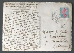 France Semeuse De Piel Sur CP - TAD Hexagonal Dieppe CP N°6 (Correspondant Postal) - (B2488) - Marcophilie (Lettres)