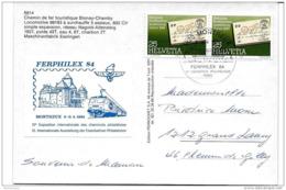 228 - 72 - Carte Suisse Cachet Ferphilex Montreux 1984  + Vignette - Trains