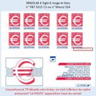 FRANCE - Carnet Couverture Décalée Vers Le Bas - 3f00/0,46 € Sigle € Rouge Et Bleu - YT 3215 C1 / Maury 524 - Standaardgebruik