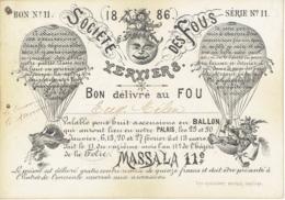 1866 VERVIERS - Rare & Superbe Document De La SOCIETE DES FOUS : Bon Pour Huit Ascencions En BALLON (MONTGOLFIERE) - Documents Historiques