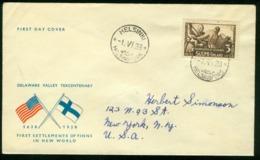 Fd Finland FDC 1938 MiNr 212 | Tercentenary Of Scandinavian Settlement In America | Sent To USA | Helsinki 1.6.1938 - Finland