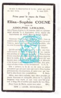 DP Elisa S. Coene ° Nieuwkerke Neuve-Eglise 1863 † 1932 X Adolphe Lemaire - Santini