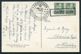 1938 Denmark Copenhagen Landbrugsudstillingen Paa Bellahej Exhibition Postcard. First Day - Covers & Documents