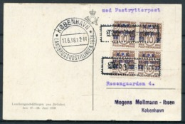1938 Denmark Copenhagen Landbrugsudstillingen Paa Bellahej Postcard. First Day Of Exhibition. KPK Overprints - Covers & Documents