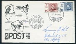 1975 Greenland Slania Cover. Ringe Denmark OPOST '75 Faroes Exhibition. Helicopter - Brieven En Documenten