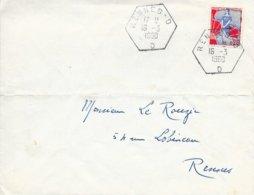 ILLE ET VILAINE 35  -  RENNES -   RECETTES AUXILIAIRES URBAINES TYPE D6 LETTRE D  -  1960 -  - BELLE FRAPPE - Bolli Manuali