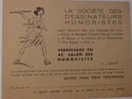 Carte Dinvitation Au Vernissage Du 42 éme Salon Des Humoristes à La Galerie De La Renaissance 11, Rue Royale à Paris. - Vieux Papiers