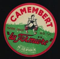 Etiquette Fromage  Camembert 40%mg  La Fermière  Ets Henri Gervaix  Le Cateau Nord  Fromagerie De Basuel - Formaggio
