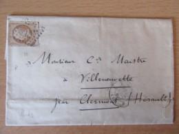 Timbre Napoléon III 40c YT 23 Sur Lettre - GC 2240 Marseille Vers Villeneuvette - 1867 - 1862 Napoléon III