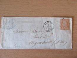 Timbre Napoléon III 40c Non-dentelé Orange-vif YT 16 Sur Lettre - PC 1164 Ecouen Vers Argenteuil - 1857 - 1853-1860 Napoleone III