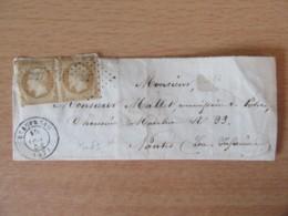 Timbre Napoléon III 10c Non-dentelé, Paire Horizontale YT N°13A Sur Façade - PC 327 Beaupréau - 1854 - 1862 Napoleon III