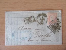 Timbre Napoléon III 40c Non-dentelé YT N°16 Sur Lettre - PC ??? Vers Grisolles - 1860 - Ob. Après Le Départ - 1862 Napoleon III