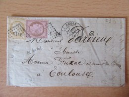 Timbres Cérès 10c Et 15c YT N°58 Et 59 Sur Lettre - PC Du GC 3114 La Réole Vers Toulouse - 1874 - 1871-1875 Ceres