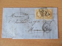 Timbres Napoléon III Lauré (paire) YT N°28B Sur Lettre - GC 3171 Rochefort Vers Mirambeau - 1871 - 1863-1870 Napoleon III With Laurels