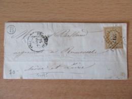 Timbre Napoléon III 10c Non-dentelé YT N°13 Sur Lettre - PC 2717 Romanèche - Boîte Rurale B - 1853-1860 Napoleon III