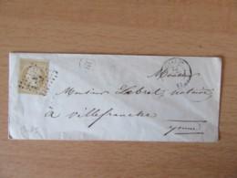 Timbre Napoléon III 10c Non-dentelé YT N°13 Sur Enveloppe - PC 753 Charny Vers Villefranche - Cachet OR - 1853-1860 Napoleon III