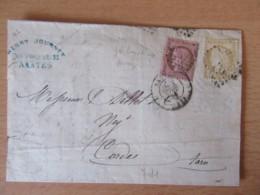 Timbres Cérès 15c Et 10c YT N°55 Et 58 (fond Ligné) Sur Lettre - GC 2602 Nantes Vers Cordes - 1874 - 1871-1875 Ceres