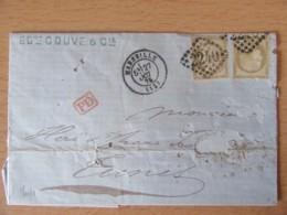 Timbres Cérès 30c YT N°56 Sur Lettre - GC 2240 Marseille - Cachet PD Rouge - 1875 - 1871-1875 Ceres
