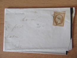 Timbre Napoléon III 10c Non-dentelé YT N°13A Sur Lettre - GC 658 Caussade Vers Mainac - 1859 - 1853-1860 Napoleon III