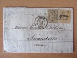 Timbres Cérès 40c Et 30c YT N°38 Et 56 Sur Lettre - GC 2046 Lille Vers Armentières - 1873 - 1871-1875 Ceres