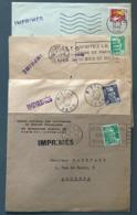 France, Lot De 4 Lettres Avec Griffe IMPRIMES - (B2515) - 1921-1960: Periodo Moderno