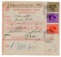 1923 YUGOSLAVIA, SLOVENIA, POLJANE NAD ŠKOFJO LOKO TO VIENNA, AUSTRIA, PARCEL CARD - 1919-1929 Kingdom Of Serbs, Croats And Slovenes